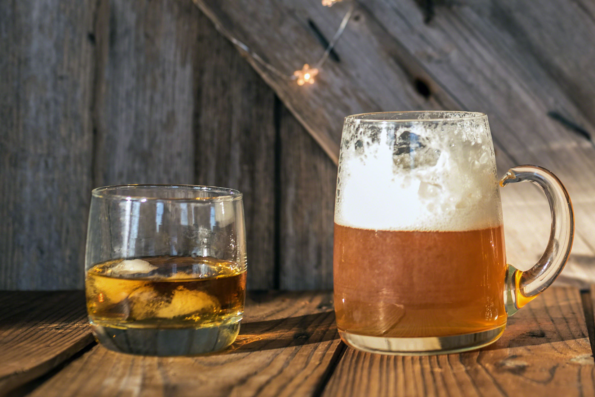 glasses of whiskey and beer