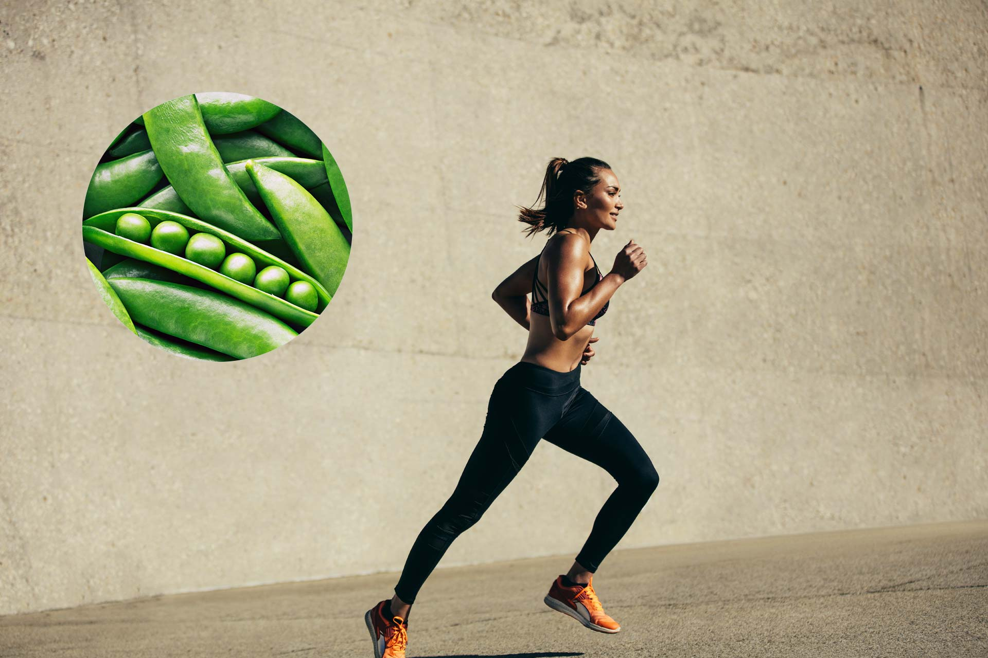 A woman running with an inset image of pea pods