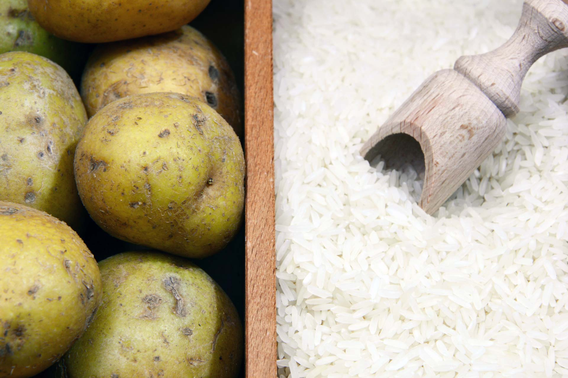 Potatoes and rice, uncooked
